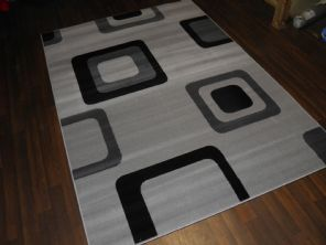Modern Approx 8x5ft 160x230cm Woven Backed Silver-Black Top Quality Square Rugs